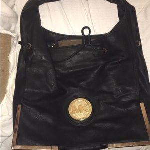 BLACK Michael Kors shoulder purse w/Gold Accent
